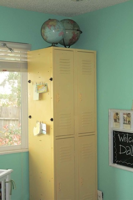pretty yellow lockers-and fun light pale turquoise walls, and the globes-love EVERYTHING about it!