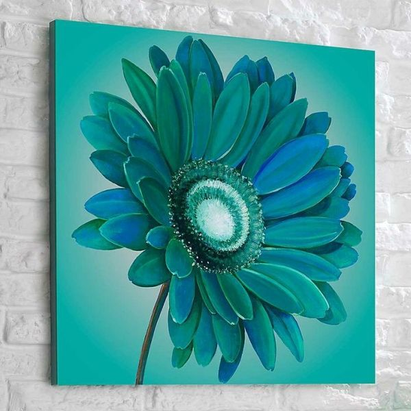 canvas painting ideas for beginners | Graham Brown Teal Gerbera Hand Painted Canvas | Living Room | House by kristy
