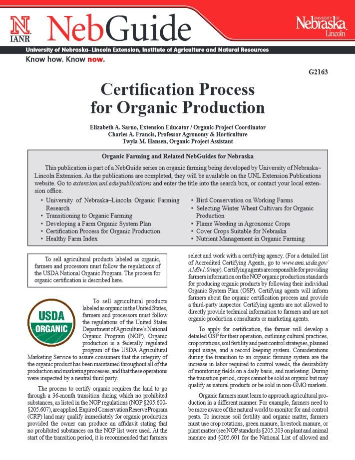 Certification Process for Organic Production #NebExt