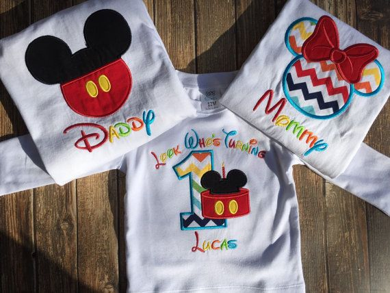 Boys first birthday mickey mouse clubhouse custom bodysuit or shirt with matching parent shirts
