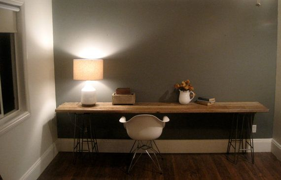 """Reclaimed Wood Extended Craft Desk by houseinhabit on Etsy Dimensions:H - 27 """"x W - 105""""x D - 19"""""""