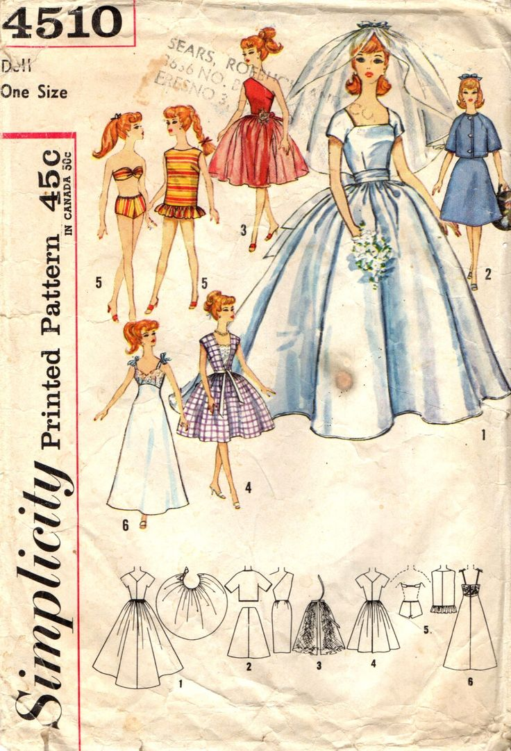 Simplicity 4510 BARBIE Bridal Trousseau Pattern Fashion Dolls  Babette Mitzi Gina Baby Kay Polly Jr. Tina Tina Marie 1962 Clothes Pattern by PatternPeddler on Etsy https://www.etsy.com/ca/listing/384667536/simplicity-4510-barbie-bridal-trousseau