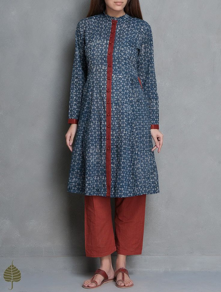 Buy Indigo Maroon Natural Dye Ajrakh Printed Cotton Jacket by Jaypore Apparel Jackets Online at Jaypore.com