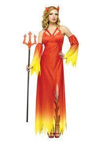 Elegante Teufelin Halloween Damenkostüm rot-gelb