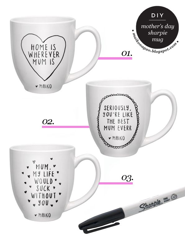 Maiko Nagao - diy, craft, fashion + design blog: DIY: Mother's Day sharpie mug gift idea & tutorial