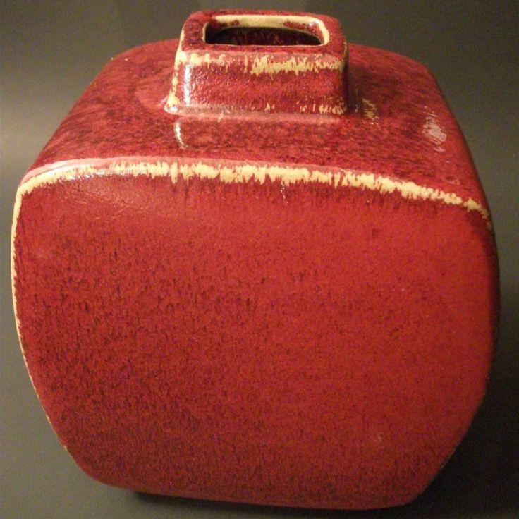 Square Vase Japanese Style - Oxblood Glaze - Rounded Square Pottery Vase - Ceramic Red Vase - by Kapharnaum on Etsy