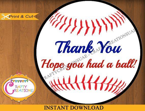 Instant Download Baseball Labels Printable Thank You Favor Sticker Baseball Favor Tag Baseball
