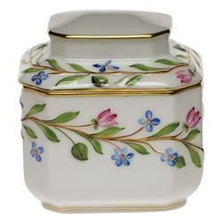 Herend Tea Caddy.   For the plain white items  I can paint this pattern to tie them in.