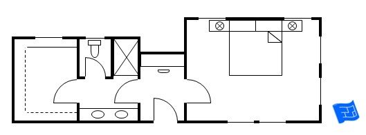 This is a more unusual master suite layout.  Given this outline of space I'd be tempted to sequence the dressing room before the bathroom.