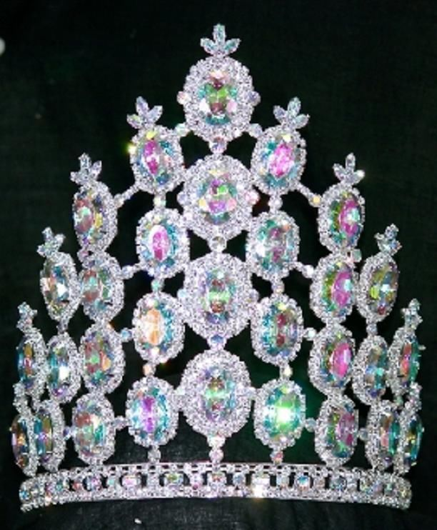 Rhinestone AB Crystal Crown Tiara Large 8 inch Drag Queen Beauty Pageant Too much?! LOL