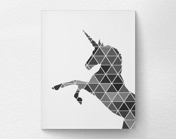 Geometric Unicorn Print Unicorn Art Unicorn by LotusLeafCreations