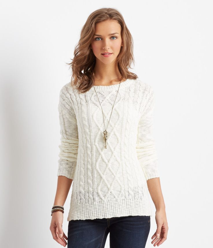 Solid Cable-Knit Sweater - Aeropostale paired with Denizen Essential Stretch modern straight