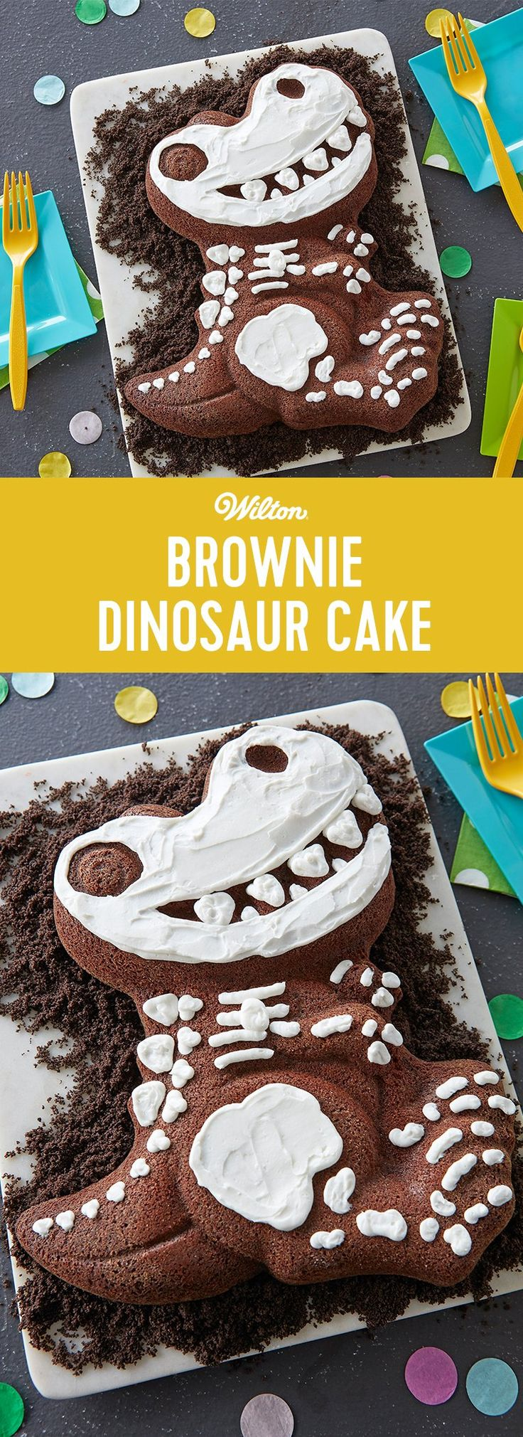 Whether you're having a Jurassic-sized birthday party or just think dinosaurs are dino-mite, this Good to the Bone Brownie Dino Cake is top of the food chain, no bones about it! Made using your favorite brownie mix and decorated with simple white icing, this dinosaur cake is great for beginners. If you don't like brownies, you can also make this cake with chocolate cake or pound cake.