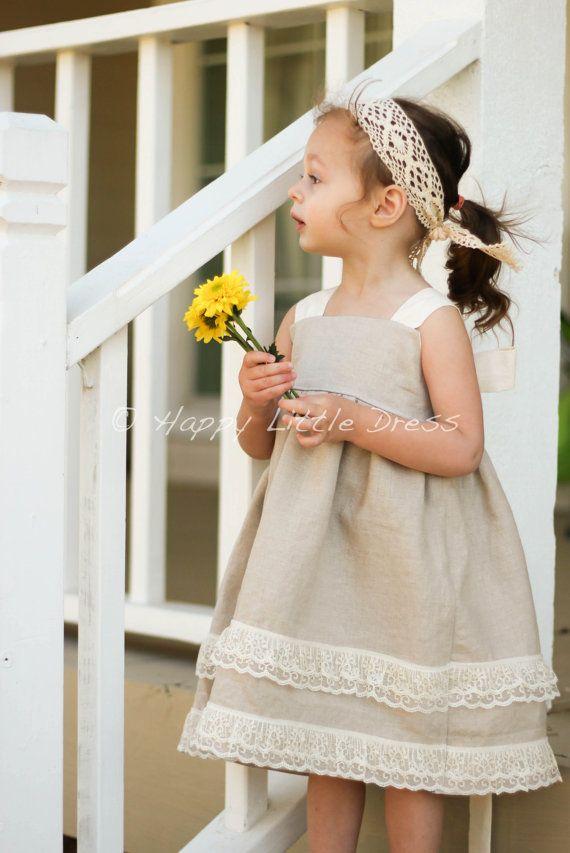 Linen Knot Dress for Girls Rustic Flower Girl by HappyLittleDress, $65.00