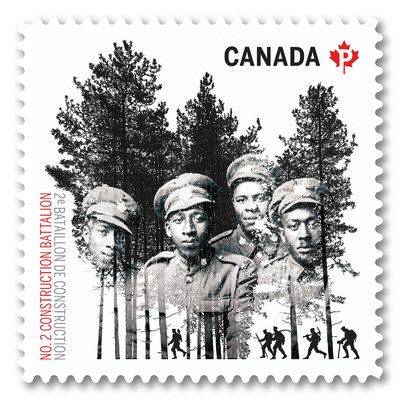 Image of stamp honouring Black Canadian unit in First World War (CNW Group/Canada Post)