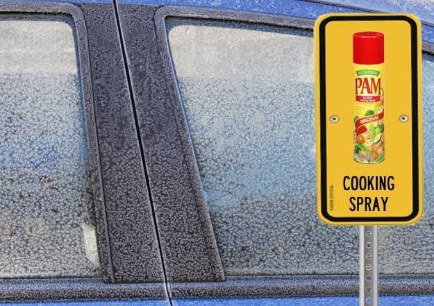 Use cooking spray on the rubber edges of your car doors to keep them from freezing shut.