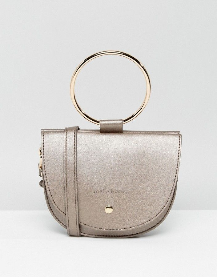 Melie Bianco Vegan Leather Crescent Crossbody Bag With Hoop Hardware
