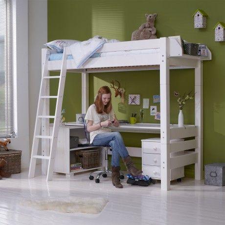 Mika high hoogslaper met bureau boysroom pinterest - Stapelbed met geintegreerd bureau ...