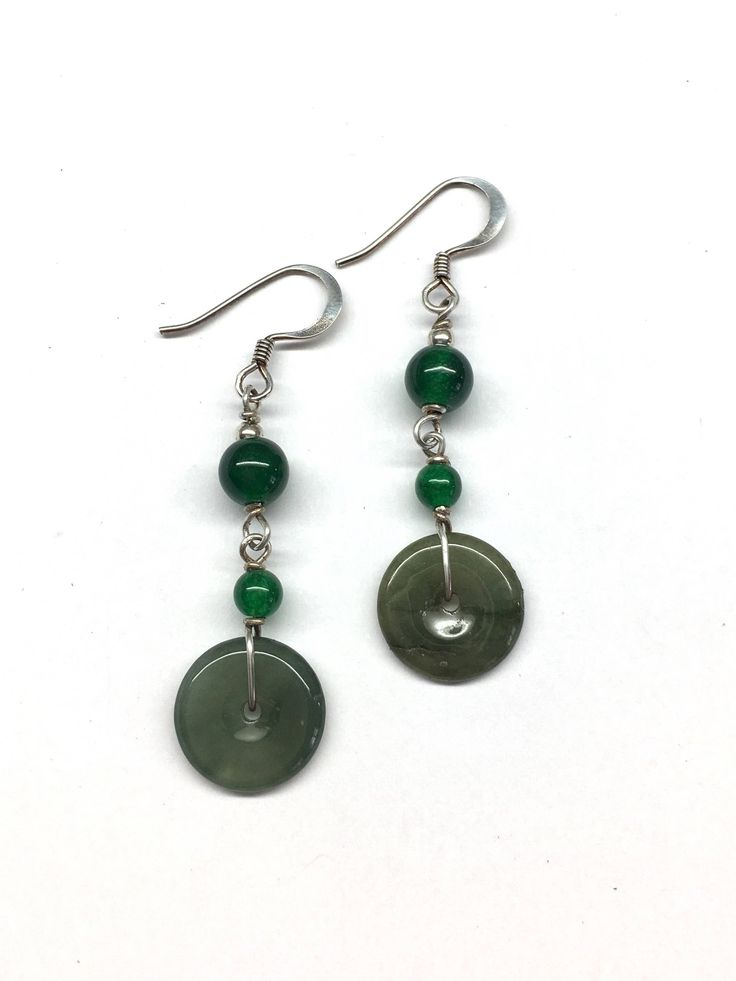 Jade Earrings, Jade Disc Earrings, Carved Dark Green Jade Disc Chinese Safety Buckle (平安扣) with Green Agate Bead Sterling Silver Earrings by RitaCollection on Etsy