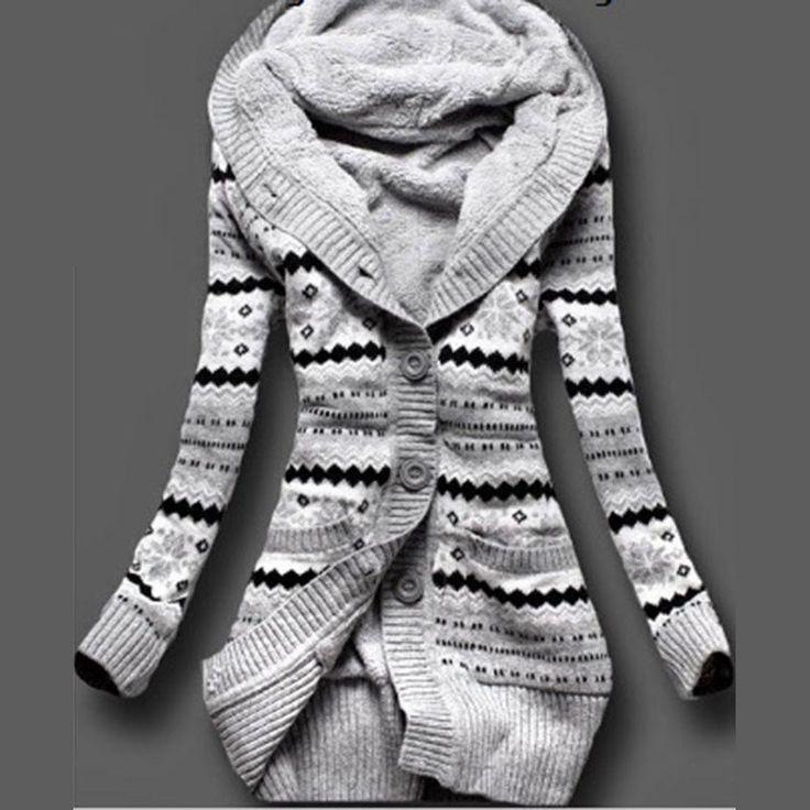 Hooded Cardigan Print Slim Long Sleeve Thick Sweater