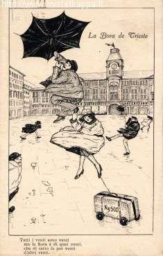 Bora a Trieste - cartolina