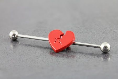 Broken Heart Industrial Barbell.  If I can find this, I will get this ! #piercings #industrial #ear