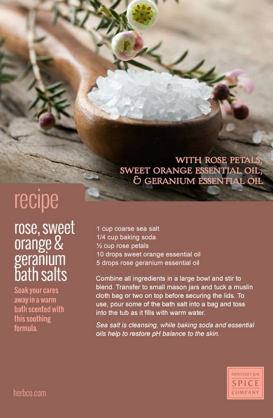 How To: DIY Rose, Sweet Orange & Geranium Bath Salts (Sea salt version). You can substitute the fragrance for your own favourite essential oils.