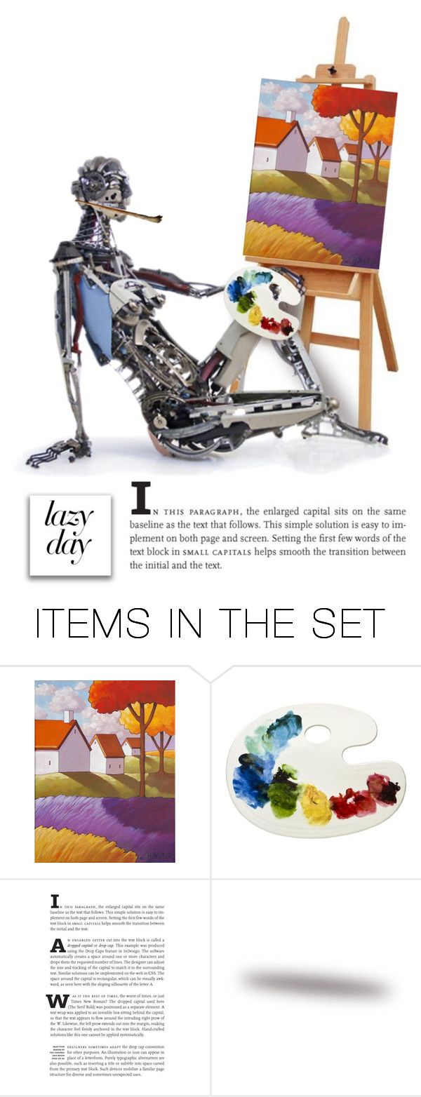 """Robots Day Off"" by patricia-dimmick on Polyvore featuring art, LazyDay, painting, android and robot"