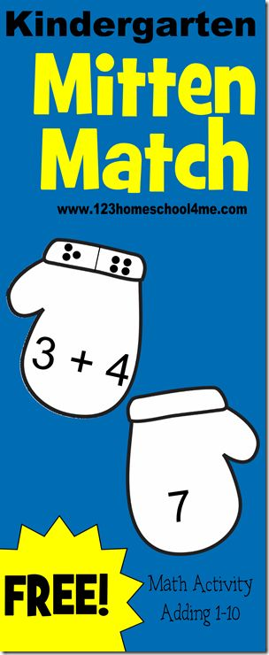 Help your Kindergarten practice addition with Mitten Match! This FREE game printable from 123 Homeschool 4 me  is easy to use, lots of