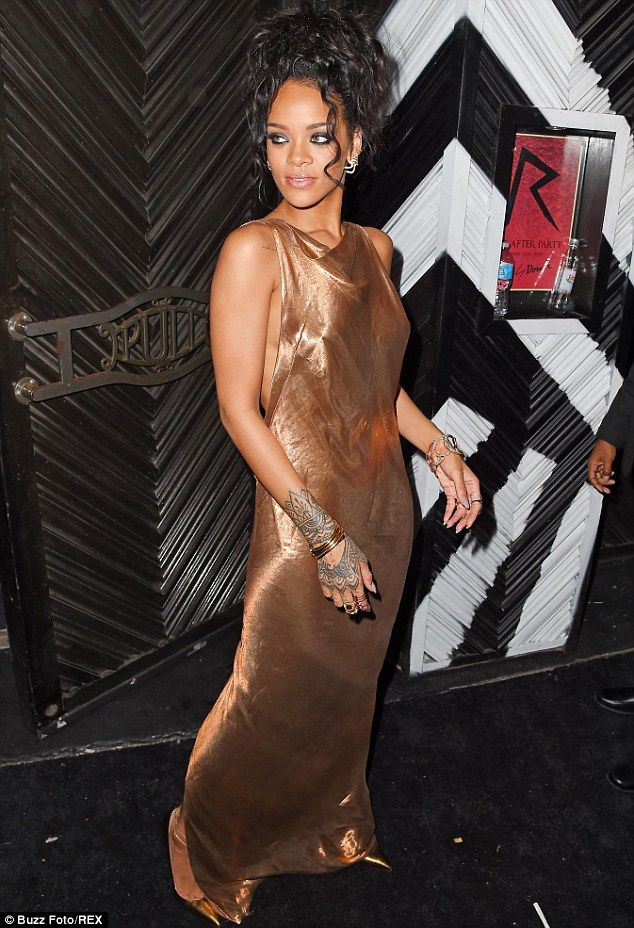 Grecian feel: Rihanna's dress looked like a piece of fabric which was simply draped around...