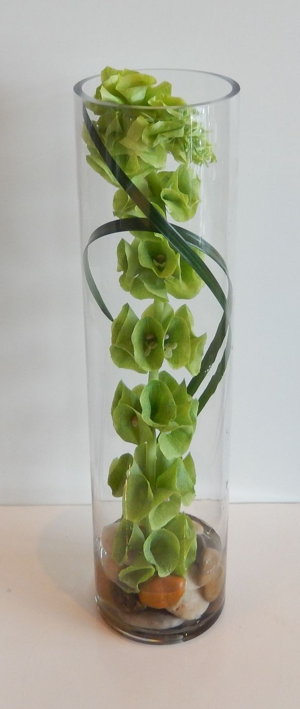 "Another contemporary cylinder vase arrangement using a stem of ""Bells of Ireland"" and a couple of stems of lily grass. Once again , perfect for a corporate party centre piece !"