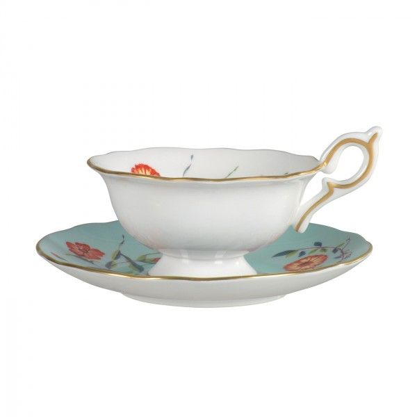 Harlequin Collection Turquoise Crocus Cup and Saucer