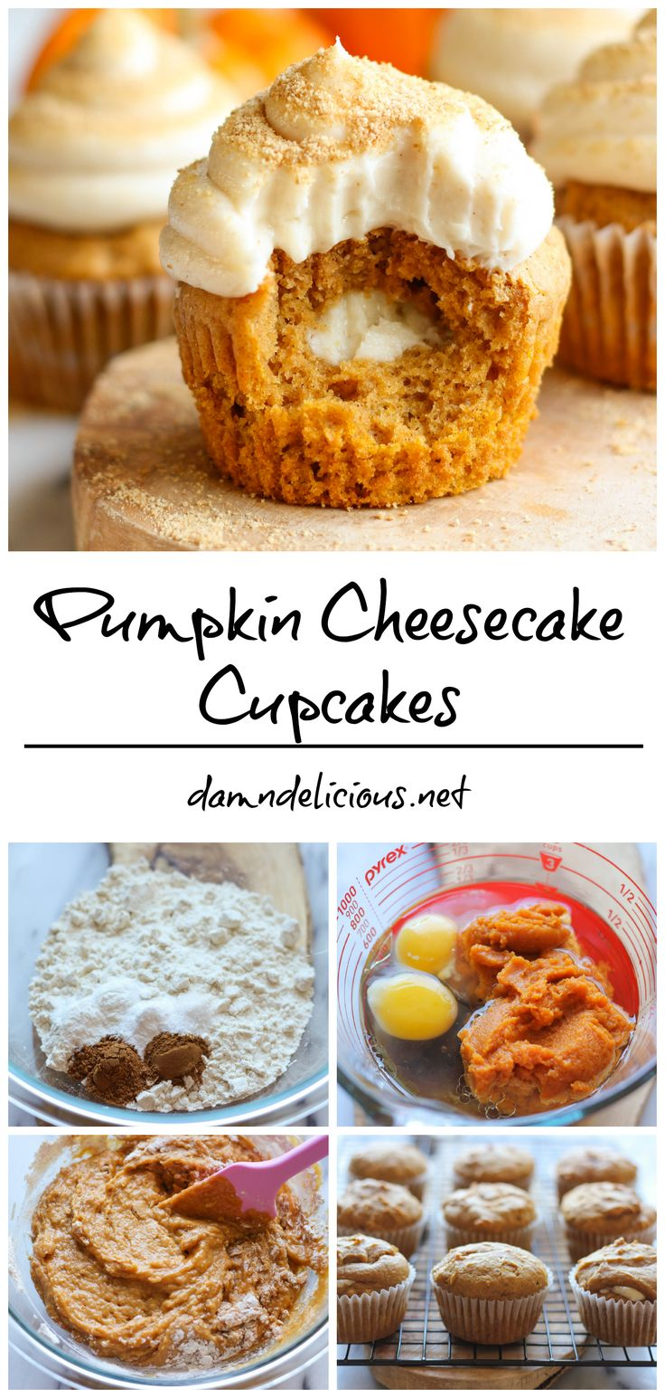 Pumpkin Cheesecake Cupcakes - With a surprise decadent cheesecake filling and graham cracker crumb topping, these cheesecake cupcakes are sure to impress your guests for the holidays!