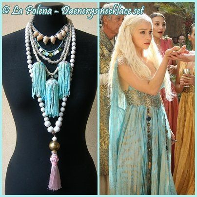 https://flic.kr/p/Q55NEu   Daenerys necklace set   Hand dyed fringed necklaces with sea shells, white wooden beads, vintage trims, metal charms, tassel.