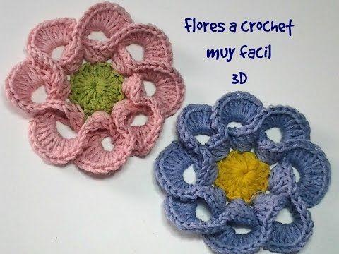 3D Spiral 8-Petal Flower Trim Around Tutorial 56 Perustekniikoilla virkattu kukka - YouTube