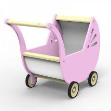 Drevený kočík pre bábiky Planeco Lila rúžový