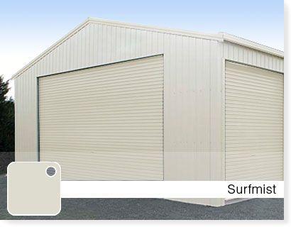 External walls on house n sheds - Surfmist colourbond. Guttering n around windows - white (powder coated?).