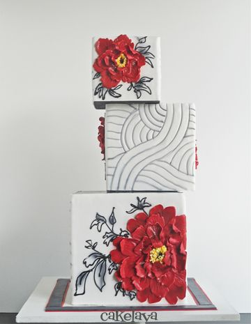 Beautiful Cake.  Unique stack and artfully done flowers.