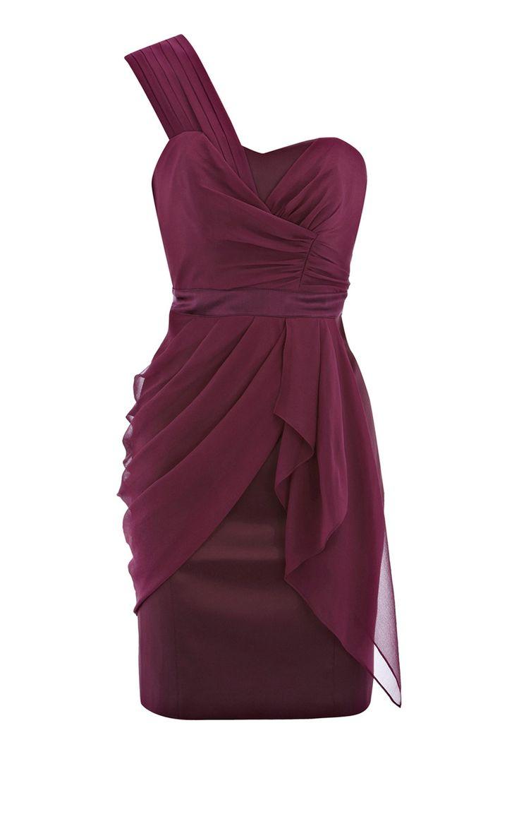 Karen Millen Draped one sholder dress aubergine [DM086] - $126.00 : Karen Millen Outlet,Karen Millen Dresses,Karen Millen Coats