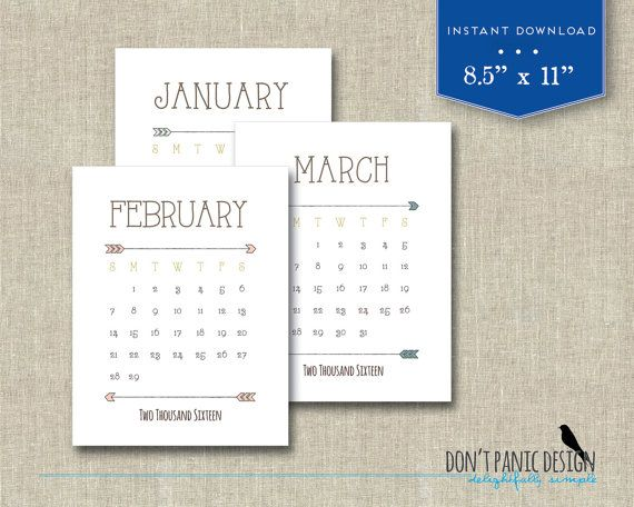 2016 Printable Wall Calendar Pretty Rustic Arrow Rustic Brown - 2016 Yearly Calendar