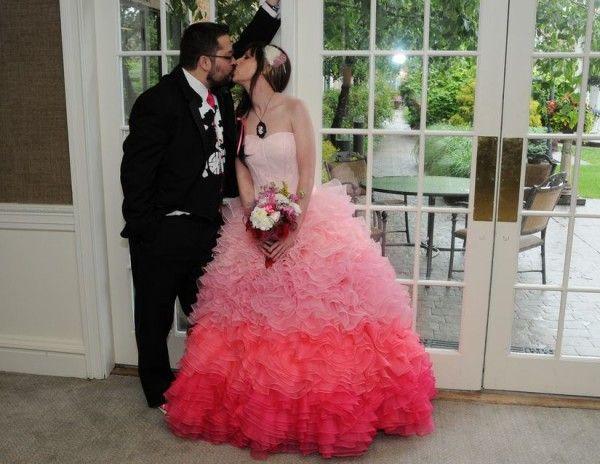 Punk rock black and pink wedding