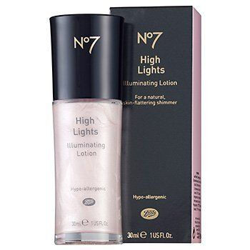 "Boots No7 Highlights Illuminating Lotion // This is widely thought of as a dupe for Benefit's ""High Beam"". However, this is x100 better than HB. Not only is it cheaper, but you get more product, in better packaging. Easier to work with and isn't as ""frosty"" as HB. ((Best highlighter for fair skin))"