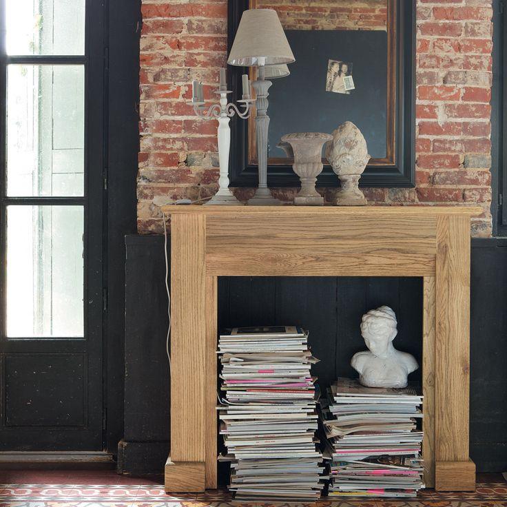 manteau de cheminée maison du monde bois brique