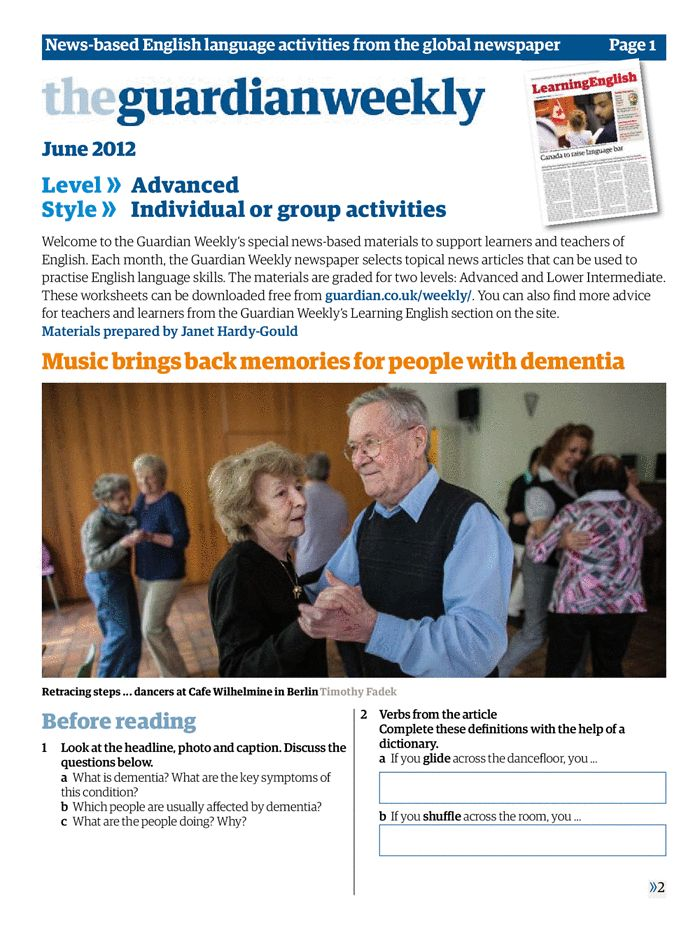 Advanced: Music brings back memories for people with dementia | Education | theguardian.com