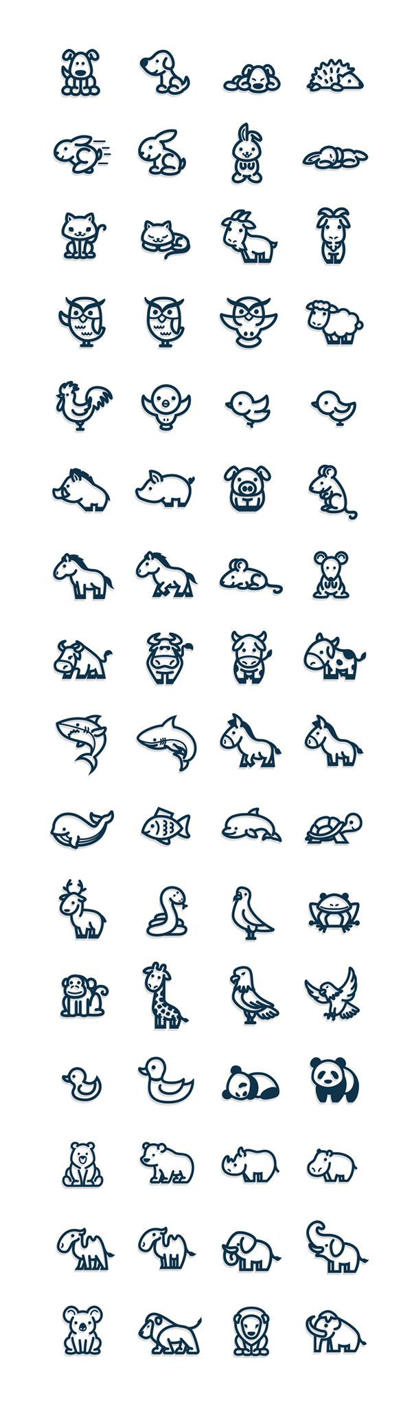 Cute and simple vectorial animal icons.                                                                                                                                                                                 Más