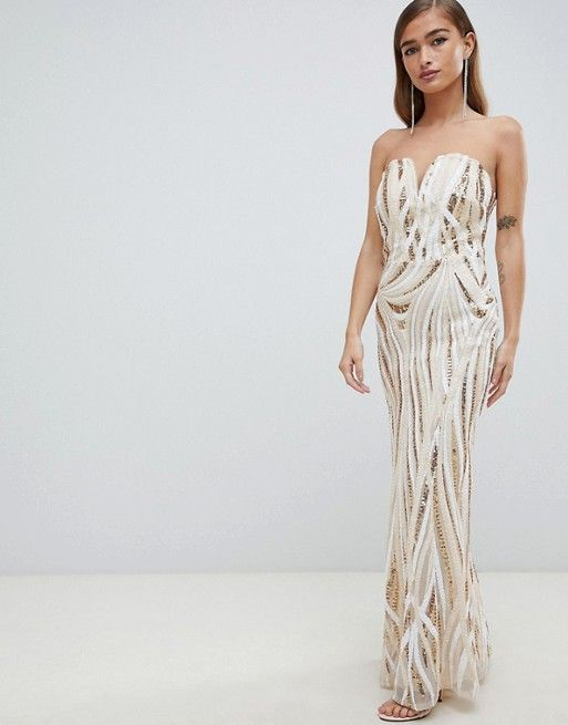 92cf67bb495c TFNC Petite | TFNC Petite patterned sequin bandeau maxi dress in gold