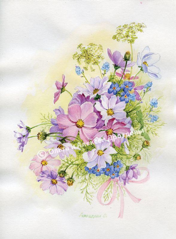 Срисовать открытки цветов