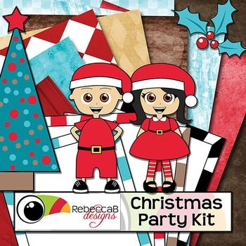 Christmas Party Kit is a fun kit with elements that will help you create your Christmas themed products.  Christmas Party Kit by RebeccaB DesignsThis kit contains:- 15 brightly colored clip art images including black and white versions in PNG format including a checkered floor JPEG- letters a to z in lower-case and numbers 0-9- 13 U.S.