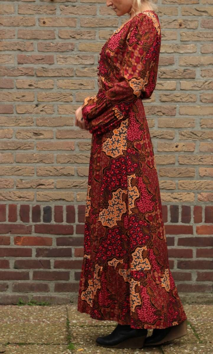 "bohemian maxikleid langarm batik rot ""shotlove"" | boho"