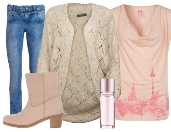 Zacht en dromerig gecombineerd met wat stoerder: vest van Fame on You gecombineerd met spijkerbroek en zacht roze items.